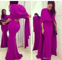 Wholesale Sexy Short Fuschia Pink Dress - Elie Saab 2016 Two Pieces Prom Dresses With Cape Fuschia Long Mermaid Prom Party Dresses Formal Sexy Cheap Pageant evening Gowns