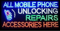 "Wholesale Led Mobile Phone Accessories - 2016 Hot Sale 15.5""X27.5"" indoor Ultra Bright flashing repairs all mobile phone unlocking accessories business shop sign of led"
