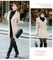 Wholesale Women Winter Pea Coat - Wholesale-Free Shipping New 2015 Winter Woman's Jacket Clothing Single Breasted Mandarin Collar Wool Pea Coat Jackets Size XL nz108
