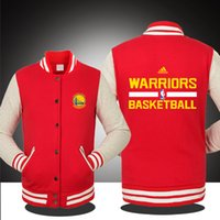 Wholesale Red Black Baseball Jackets - WHOLESALE WARRIORS BASKETBALL TRACKSUIT SPRING FALL WINTER Classic Jacket lover`s Sweatshirt baseball uniform for MAN AND WOMAN 5 COLORS