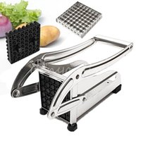 Marque Nouveau Acier inoxydable Français Accueil Fry Fries Potato Chips Strip de coupe Cutter machine Maker Slicer Chopper Dicer + 2 Lames pour $ 18Personne