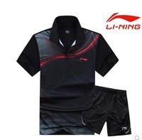 yeni kıyafetler badminton li ning toptan satış-Toptan Satış - Toptan-2016 Yeni Çin Takımı Kadın Veya Adamın Masa Tenisi Giysileri Masa Tenisi Gömlek + Kısa Pingpong Tişört