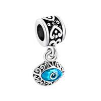 Wholesale Pandora Heart Dangle Charms - Blue evil eye design drop European style dangle bead infant lucky charms Fits Pandora charm bracelet
