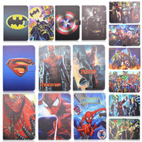 Wholesale Tablet Avengers - New Cute Cartoon Avengers and Spider-man and Superman Filp Leather Stand Tablet Case For Ipad Mini 4 1pc