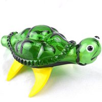 """Wholesale Burner Fashion - Green Turtle Glass Pipes 5"""" inch Portable Oil Burner Glass Pipes 2016 Fashion Smoking Pipes Delicate Tobacco Pipes Hand Pipe for Cigarette"""