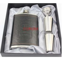 Wholesale Wrap Flask - 10sets lot Free shipping 7oz leather wrapped hip flask + 2 cups + funnel With Retail box For Gift