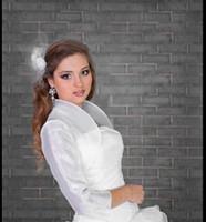 Wholesale Organza Bolero Jacket Silver - Simple Opening Front High Neckline Organza Wedding Bridal Ivory White Organza Bolero Shrug Jacket S M L XL XXL XXXL