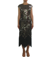 vestidos de cocktail de borla frisada venda por atacado-Retro Frisado 1920 Vintage Art Deco Coquetel Flapper Vestidos Traje Longo Jazz Era Flappers Grande Gatsby Traje Vestido Estilo em 1920's Mulheres