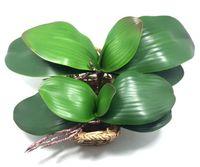 Wholesale Glue Pots Wholesale - 2017 new Artificial flower Orchid leaves high quality PU gluing texture leaves DIY potted flower arrangements