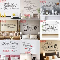 Wholesale green day wall stickers - Mixed Styles Wall Quotes Wall Stickers Decal Words Lettering Saying Wall Decor Sticker Vinyl Wall LOVE Art Stickers Decals hot wholesale