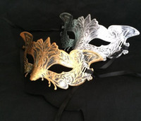 Wholesale vintage mardi gras mask resale online - Men s vintage eagle mask Mardi gras Halloween masquerade gents plain mask gentleman Party Christmas bauta mask gold sliver festive supplies