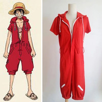 Wholesale monkey d luffy cosplay - Anime One Piece Monkey D Luffy Red Hooded Jumpsuits Rompers Uniforms Cosplay Costumes Summer Style Plus Size Unisex Clothing