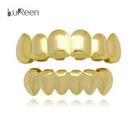 Wholesale Lureen k Gold Rose Gold Silver Shiny Smooth Teeth Grills Top and Bottom Teeth Grills Set Joker Mouth Teeth Hip Hop Grills