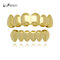Wholesale Mouth Set - Lureen 18k Gold Rose Gold Silver Shiny Smooth Teeth Grills 6 Top and Bottom Teeth Grills Set Joker Mouth Teeth Hip Hop Grills