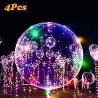 Wholesale Helium Pack - XIAKE 18'' Party Balloons with Fairy String Lights, 4 Pack ,Fillable with Helium 18 inch trendy clear latex balloons, sturdy & reusable
