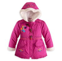 Wholesale Parka Jacket Girls - Frozen Down Coat cotton padded Puffer Jacket Girl FROZEN Winter Fleece Outerwear Anna and Elsa Children Hooded Coat Kids Down Parkas