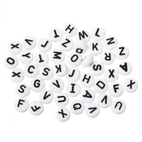 """Wholesale Heart Alphabet Bead - 2016 new Acrylic Spacer Beads Flat Round Alphabet Letter White 10mm(3 8"""") Dia,Hole:Approx 2.4mm,200PCs"""