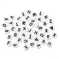 ingrosso perline acriliche-Nuovo distanziatore acrilico Pony Perline Rotondo piatto Alfabeto / Lettera bianco 10mm diametro, foro: circa 2,4 mm, 200 pezzi di gioielli risultati che rendono all'ingrosso fai-da-te