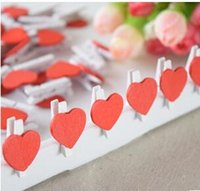 Wholesale Mini Red Wooden Pegs - Mini Wooden Red Heart Pegs Wedding Table Place Card Holders Craft Love, 3x2cm
