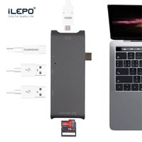 Wholesale usb hubs - Type C 6 in 1 Multiport Adapter HUB Type-C to HDMI USB 3.0 Port and USB-C Charging Port for MacBook Pro Matebook