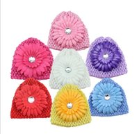 Wholesale Baby Boy Daisies - Christmas gift knitted children's hat 7 colors knitted infant baby hat with Daisy Crochet Hats children's Caps Hats Independent packing