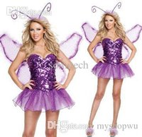 Wholesale Wings For Adult Costume - Wholesale-Dance Butterfly Costume For Women Fairy Beatiful Dress With Wing Adult Purple Animal Costumes Cosplay Fancy Dress Outfit A1326