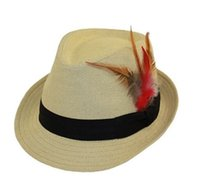 Wholesale Black Feather Hat Band - NEW Men's Women Structared Straw Black Band With Feather Fedora Hats Summer Caps 10pcs lot