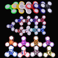 Wholesale Top Vehicle Light - 2017 LED Light Hand Spinners Fidget Spinner Top Quality Triangle Finger Spinning Top Colorful Decompression Fingers Tip Toys OTH384