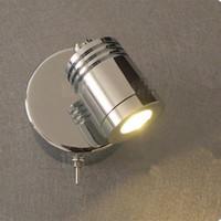 lámpara de lectura led de montaje en pared al por mayor-Topoch Lámparas de lectura montadas en la pared Interruptor rotativo Encendido / apagado LED incorporado de 3W Integral Acabado cromado del conductor para hotel RV Barco Retro