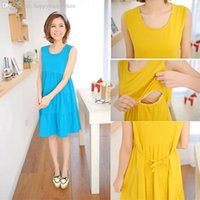 Wholesale Dresses For Feeding - Wholesale-Summer Maternity Vest Nursing Dress Cotton Casual Breast Feeding Clothes For Pregnant Women Clothing for Pregnancy Wear 6835