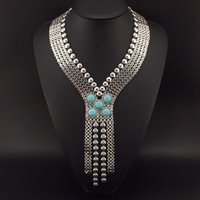 Wholesale Turquoise Chunky Chain Necklace - 2015 New Ancient Egypt Style Statement Jewelry Fashion Chunky Chain Welding Turquoise Long Necklaces Women Evening Dress N2189