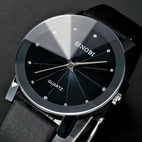Wholesale Trendy Fashion Watches - Trendy Classic Sinobi 981 men Round Dial Analog dress women watches Quartz Watch with Faux Leather Strap ( Black) for unisex