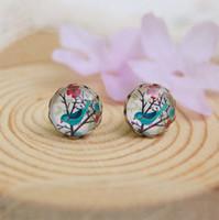 Wholesale Blue Bird Stud Earrings - 2015 Hot New 10mm Blue Bird Flowers Earrings Animal Christmas Stud Earrings for Kids Children Vintage Jewelry