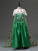 Wholesale Wholesale Short Cotton Maxi Dresses - Frozen Costume Fever Inspired Green Maxi Split Elsa Dress Flower Princes dress Long floor Cosplay Costume Flower