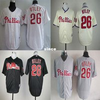 Wholesale Cream Philadelphia - Factory Outlet Philadelphia Phillies 26 Chase Utley Sport Jersey Embroidery Logos White Grey Cream Black Stitched Hot Sale Baseball Jerseys