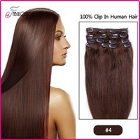 Wholesale 24inch Clip Hair Extensions - 7A Brazilian Clip in Human Hair Extensions Straight Virgin Hair Clip in Extensions Color #,7pcs set 15 18 20 22 24inch