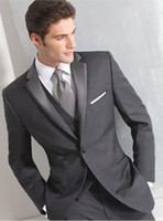 Wholesale black pinstripe dress pants - Two Buttons Side Seam For Incision Lapel The Groom's Best Man Suit Wedding Dress Wedding Suit (Jacket + Pants + Tie +Vest )