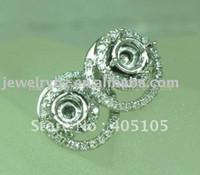 Wholesale 14k Gold Earring Setting Mountings - Wholesale-4.0mm Round Cut 14k White Gold & 0.38 Diamond Semi Mount Wedding Engagement Earring Setting