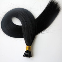Wholesale human hair jet black resale online - Pre bonded I Tip Brazilian Human Hair extensions g Strands inch Jet Black Indian hair products