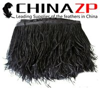 Wholesale Wholesale Ostrich Feather Trim - Gold Supplier CHINAZP Crafts Factory 10yards lot 10~15cm (4~6inch) Width Top Quality Fluffy Dyed Black Ostrich Fringe Feathers Trim