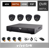 dvr kit dome al por mayor-VIVETEK CCTV Kit 4CH DVR kit con 4pcs 900TVL IR cámaras de la bóveda 1pc H.264 HDMI P2P DVR CCTV Sistema