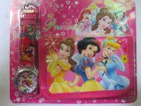 Wholesale Snow White Wallets - princess Snow White Belle Wristwatch kids part Set watch Wristwatch and wallet purse Free shiping 2pcs