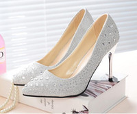 Wholesale Diamond Crystal High Heel Shoes - luxury The crystal Wedding shoe Red Gold silver black and grey bride shoes diamond High heels Formal dress shoes 34-39
