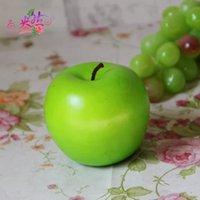 ingrosso mele verdi artificiali-8.5cm Grande mela verde Frutti artificiali Simulazione verde mela decorazioni per la casa decorazione della festa nuziale forniture 50 pz