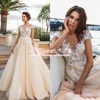 Wholesale Beach Wedding Dresse - Romantic Princess 2017 A Line Wedding Dresse V Neckline Illusion Back 3D Flora Lace Appliques Empire Tulle Beach Sweep Train Bridal Gowns