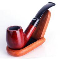 ingrosso tubi in mogano-New Mahogany Bent Pipe Hammer Mini portatile in seta rossa di legno di sandalo Fighting Men