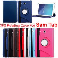 caja de la lata de la lengüeta de la galaxia al por mayor-Estuche giratorio de 360 grados para universal Samsung Galaxy Tab Lite T110 9.7 TabS T810 10.1 pulgadas Tab4 T530 Tab3 T310 Fundas de cuero Litch para tabletas