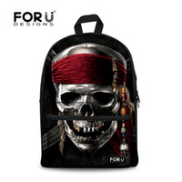 Wholesale Skull Phone Novelty - Cool Metal Skull Printing Teenager Backpacks For Student Boys Novelty Pirate School Bags Women Outdoor Travel Mochila Feminina