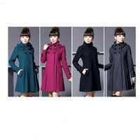 Wholesale Woman Winter Coat Dark Blue - Wholesale-S262 Ffashion new 2015 long womans coats winter long sleeves Big yards hooded comfortable casaco vermelho Hat removable
