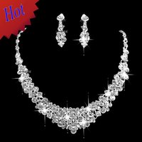 Wholesale Headdress Necklace - Stock Rhinestones Party Christmas Gift Silve Two Sets Bling Wedding Accessories Bridal Hair Headdress Gift Diamond Necklace Jewelry Earrings